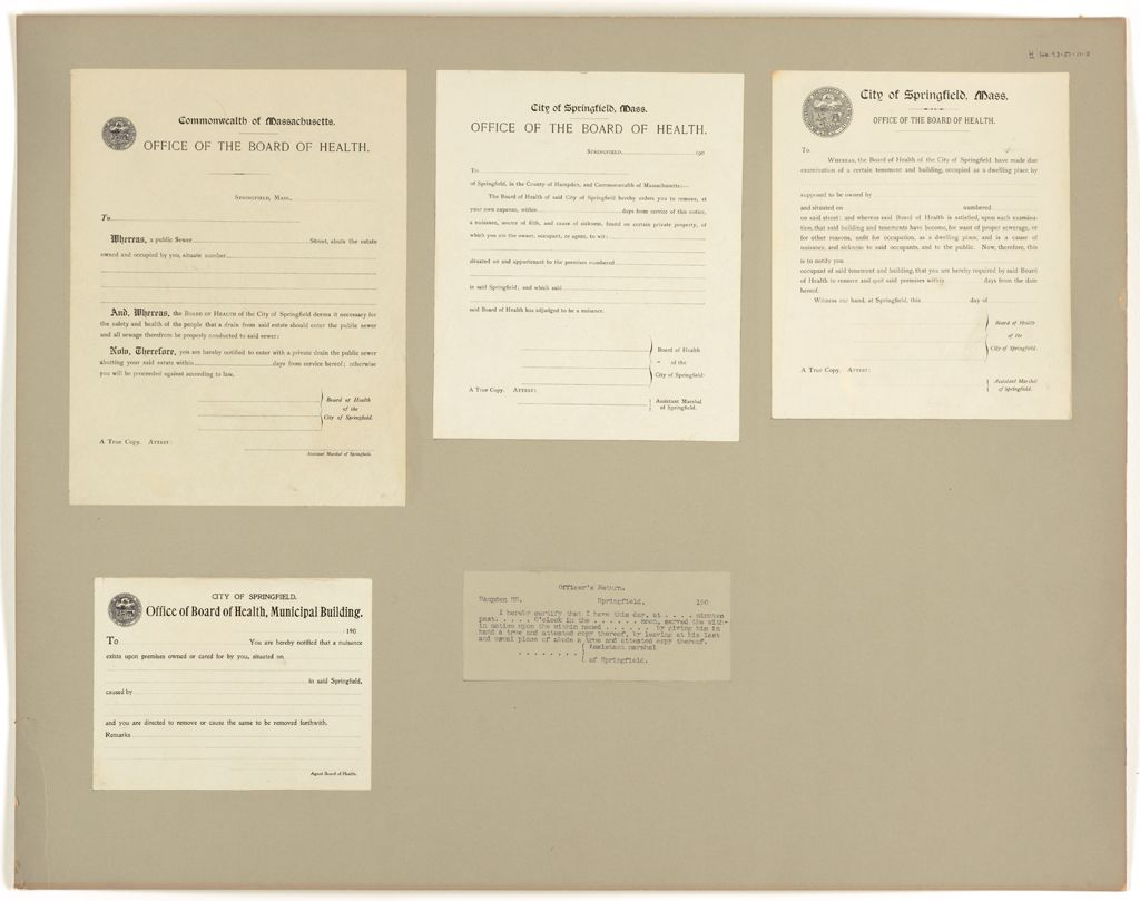 Health, General: United States. Massachusetts. Springfield. Board Of Health Forms