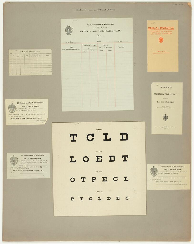 Health, General: United States. Massachusetts. Forms For Medical Inspection: Medical Inspection Of School Children
