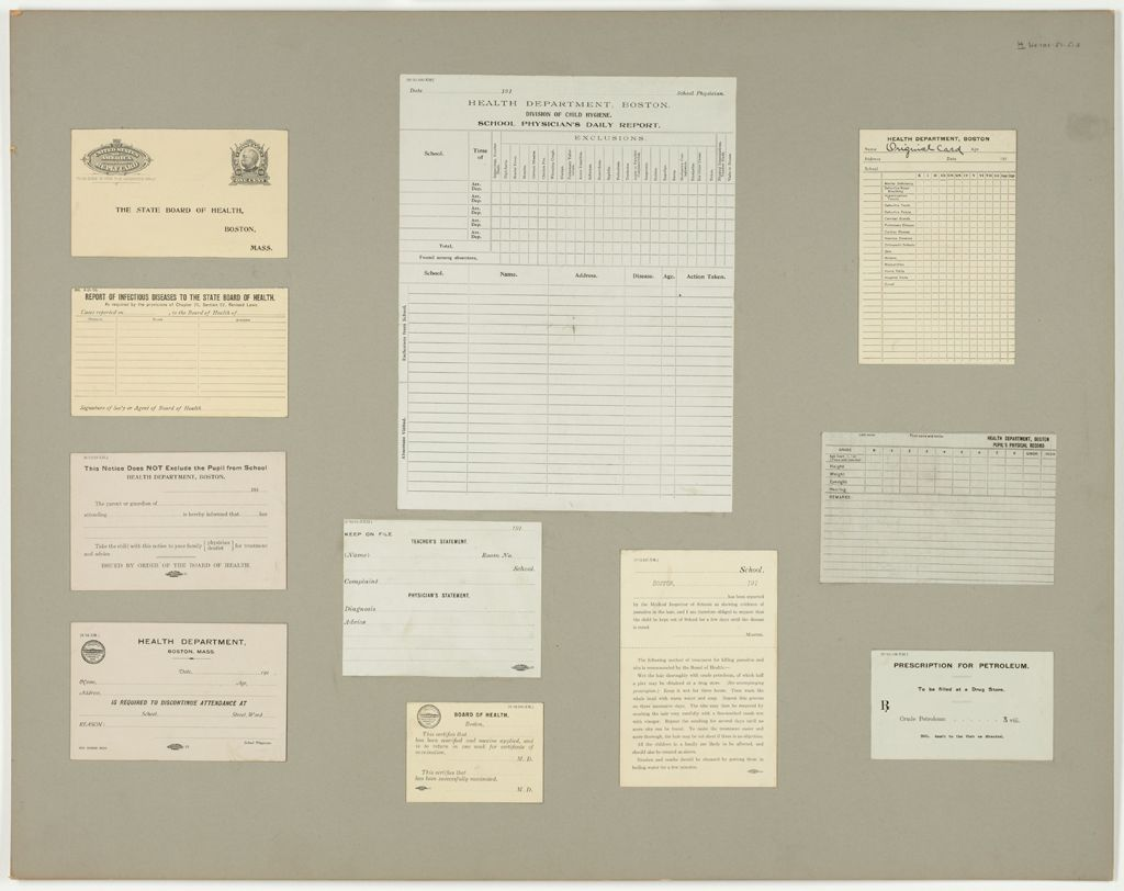 Health, General: United States. Massachusetts. Boston. Forms For Medical Inspection