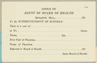 Health, General: United States. Massachusetts. Springfield. Forms For Medical Inspection Of School Children: Office Of Agent Of Board Of Health
