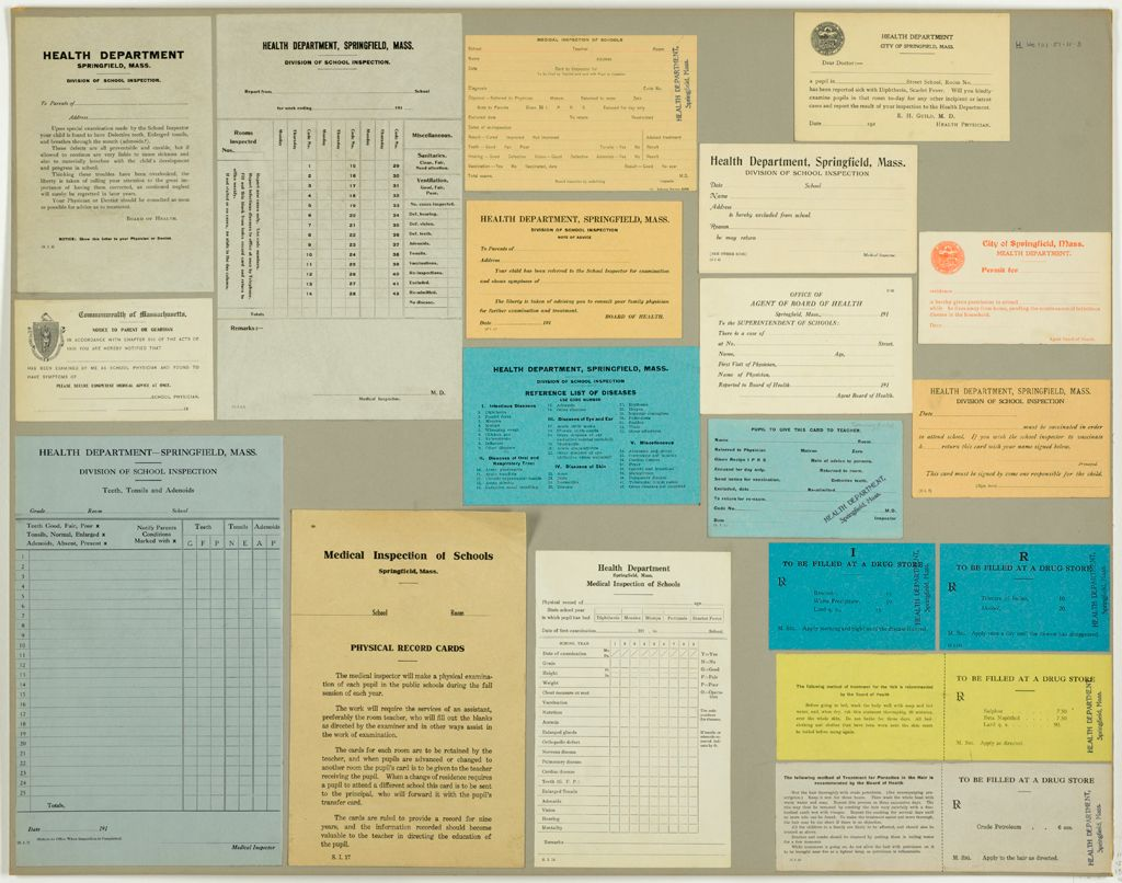 Health, General: United States. Massachusetts. Springfield. Forms For Medical Inspection Of School Children