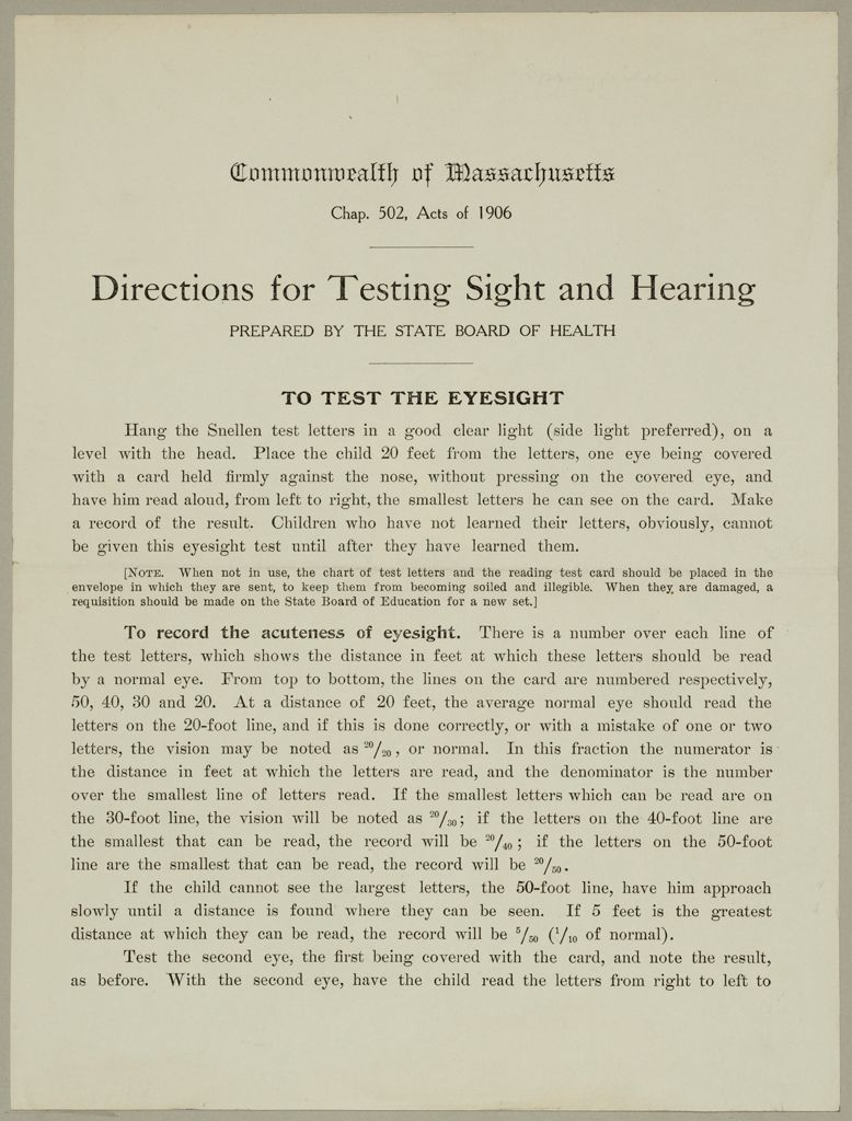 Health, General: United States. Massachusetts. Forms For Medical Inspection Of School Children: Commonwealth Of Massachusetts. Directions For Testing Sight And Hearing Prepared By The State Board Of Health: To Test The Eyesight