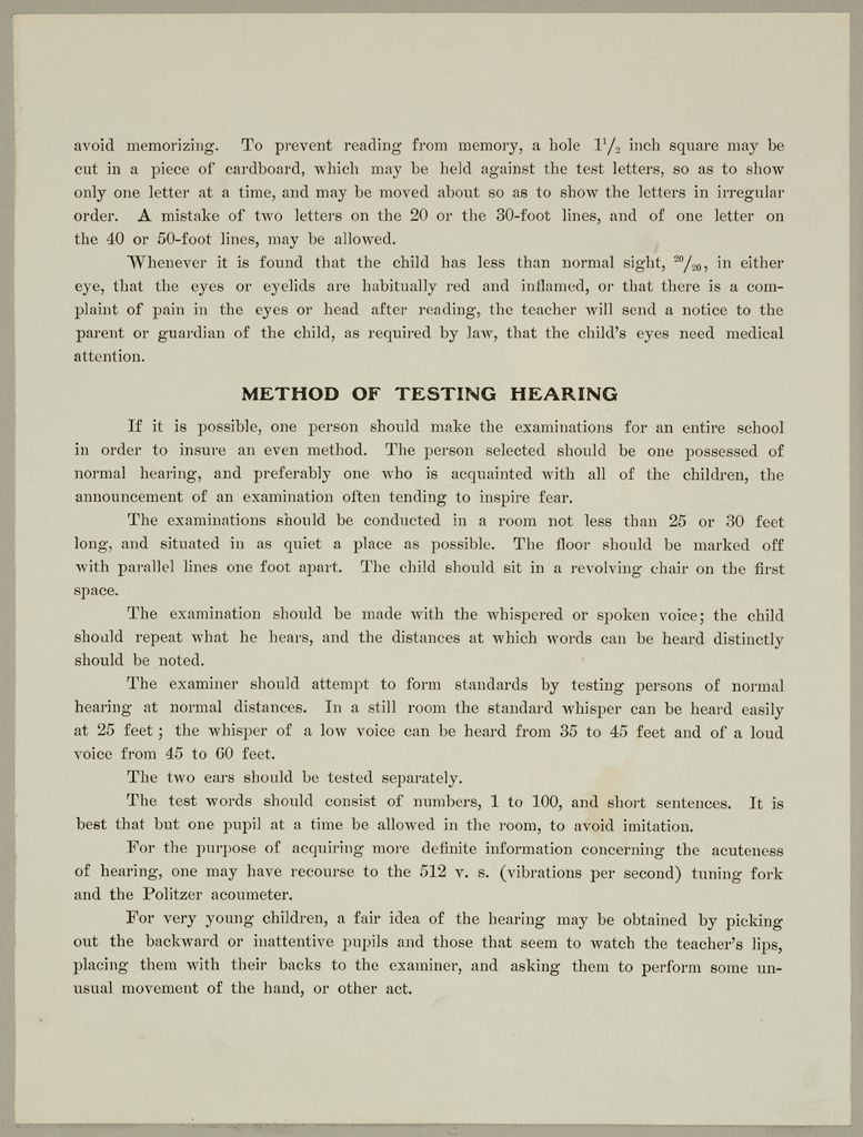 Health, General: United States. Massachusetts. Forms For Medical Inspection Of School Children: Method Of Testing Hearing