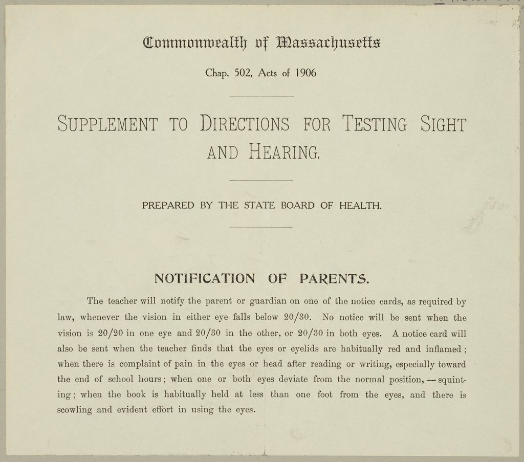 Health, General: United States. Massachusetts. Forms For Medical Inspection Of School Children: Commonwealth Of Massachusetts. Supplement To Directions For Testing Sight And Hearing. Prepared By The State Board Of Health.: Notification Of Parents.