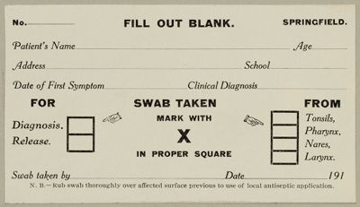 Health, General: United States. Massachusetts. Forms For Medical Inspection Of School Children: Fill Out Blank.