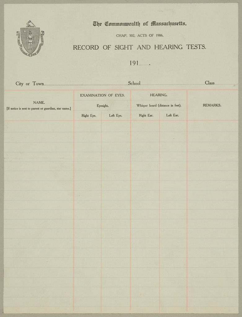Health, General: United States. Massachusetts. Forms For Medical Inspection Of School Children: The Commonwealth Of Massachusetts. Record Of Sight And Hearing Tests.