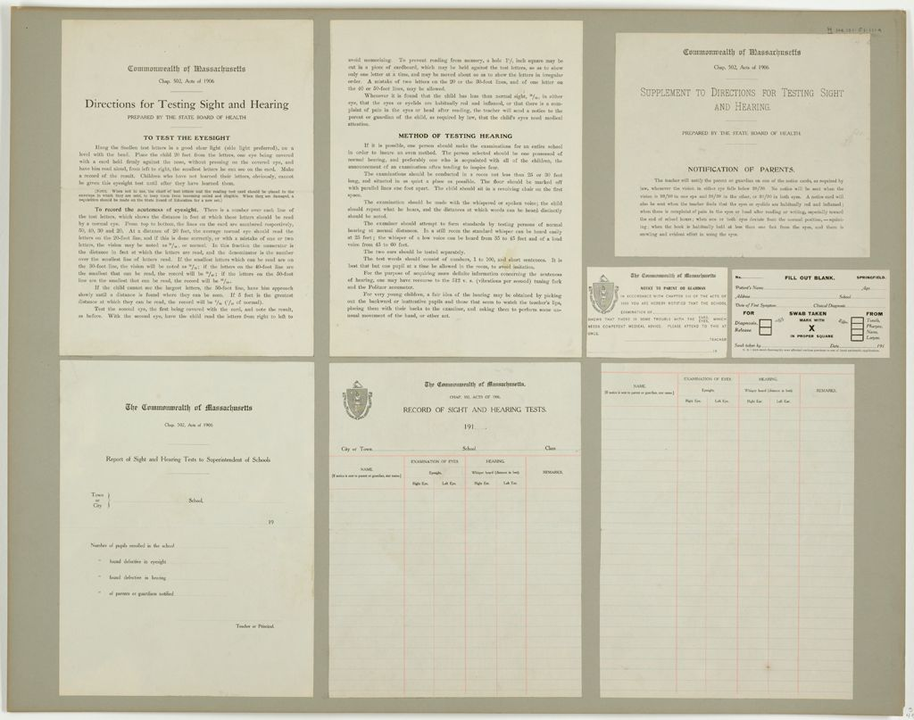 Health, General: United States. Massachusetts. Forms For Medical Inspection Of School Children