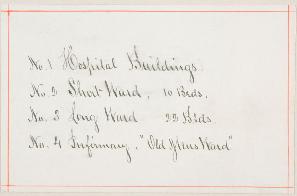 Charity, Public: United States. Massachusetts. Bridgewater. State Farm: State Farm: No. 1 Hospital Buildings: No. 2 Short Ward, 10 Beds.: No. 3 Long Ward 22 Beds.: No. 4 Infirmary.