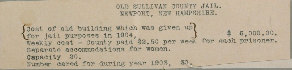 Crime, Prisons: United States. New Hampshire. Newport. Sullivan County Jail: New Hampshire State Charitable And Correctional Institutions: Old Sullivan County Jail. Newport, New Hampshire.