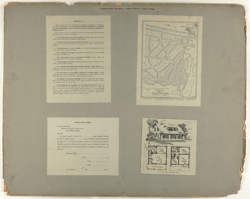 Housing, Improved: United States. Massachusetts. North Billerica. Garden Suburb: Copartnership Housing, Garden Suburb, United States