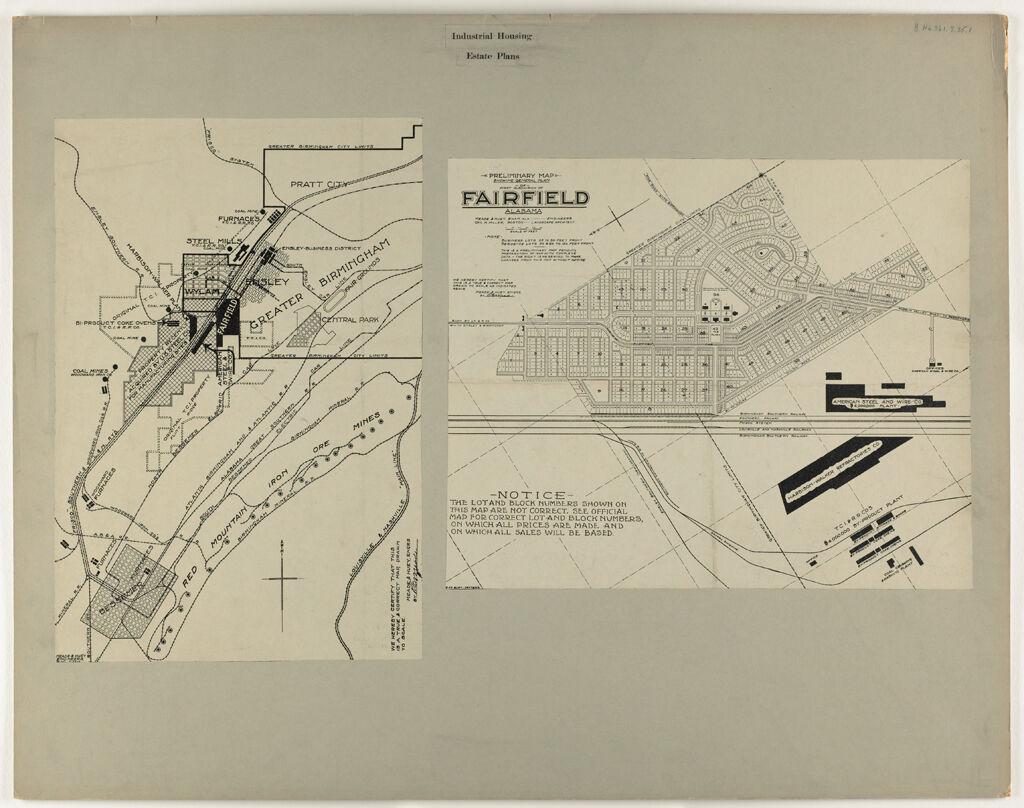 Housing, Industrial: United States. Alabama. Fairfield: Industrial Housing. Estate Plans