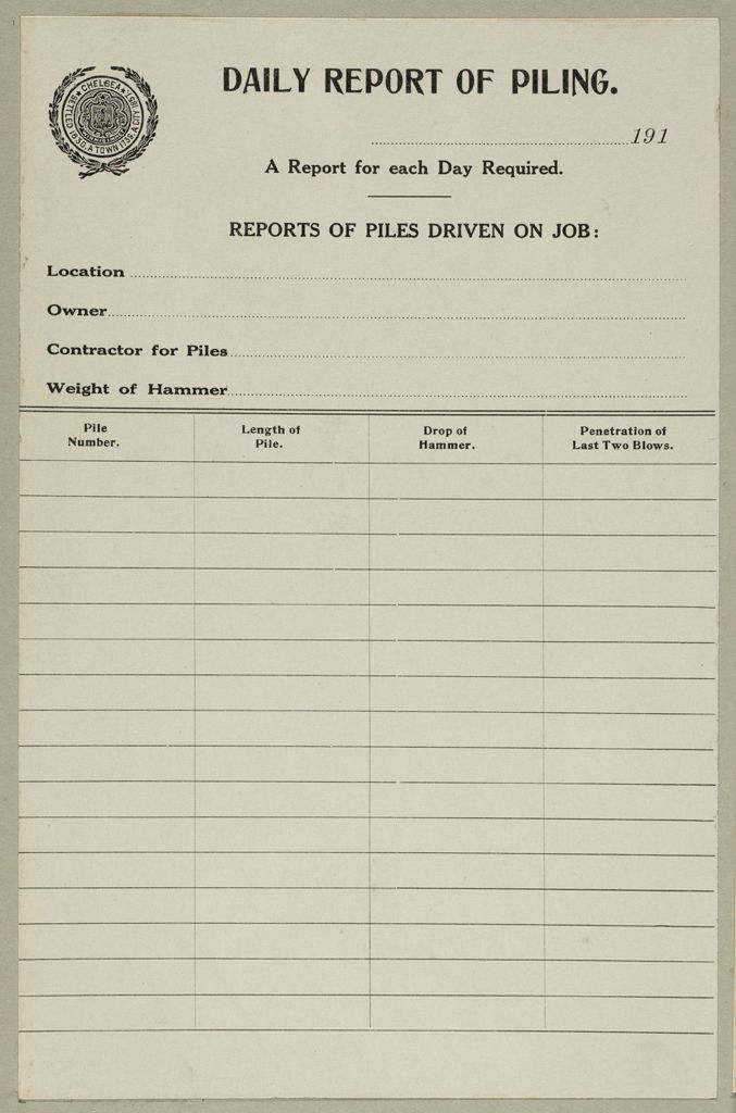 Housing, Improved: United States. Massachusetts. Chelsea. Massachusetts Building Permits: Daily Report Of Piling.