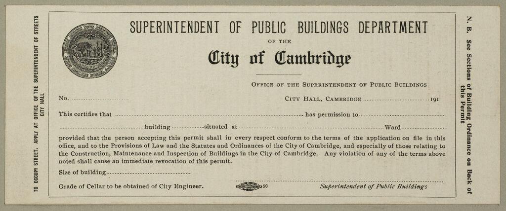 Housing, Improved: United States. Massachusetts. Cambridge. Massachusetts Building Permits: Superintendent Of Public Buildings Department Of The City Of Cambridge