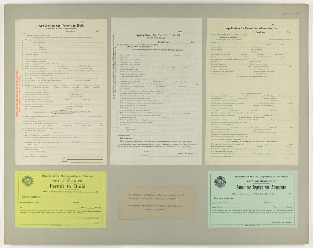 Housing, Improved: United States. Massachusetts. Brockton. Massachusetts Building Permits