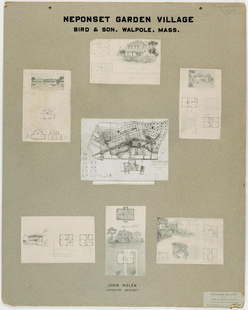 Housing, Improved: United States. Massachusetts. Walpole. Housing Exhibit Of George B. Post & Sons: Neponset Garden Village. Bird & Son, Walpole, Mass.: John Nolen. Landscape Architect