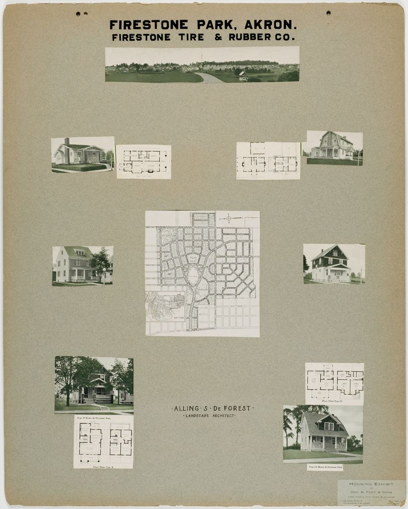 Housing, Improved: United States. Ohio. Akron. Housing Exhibit Of George B. Post & Sons: Firestone Park, Akron. Firestone Tire & Rubber Co.: Alling S. Deforest. Landscape Architect.