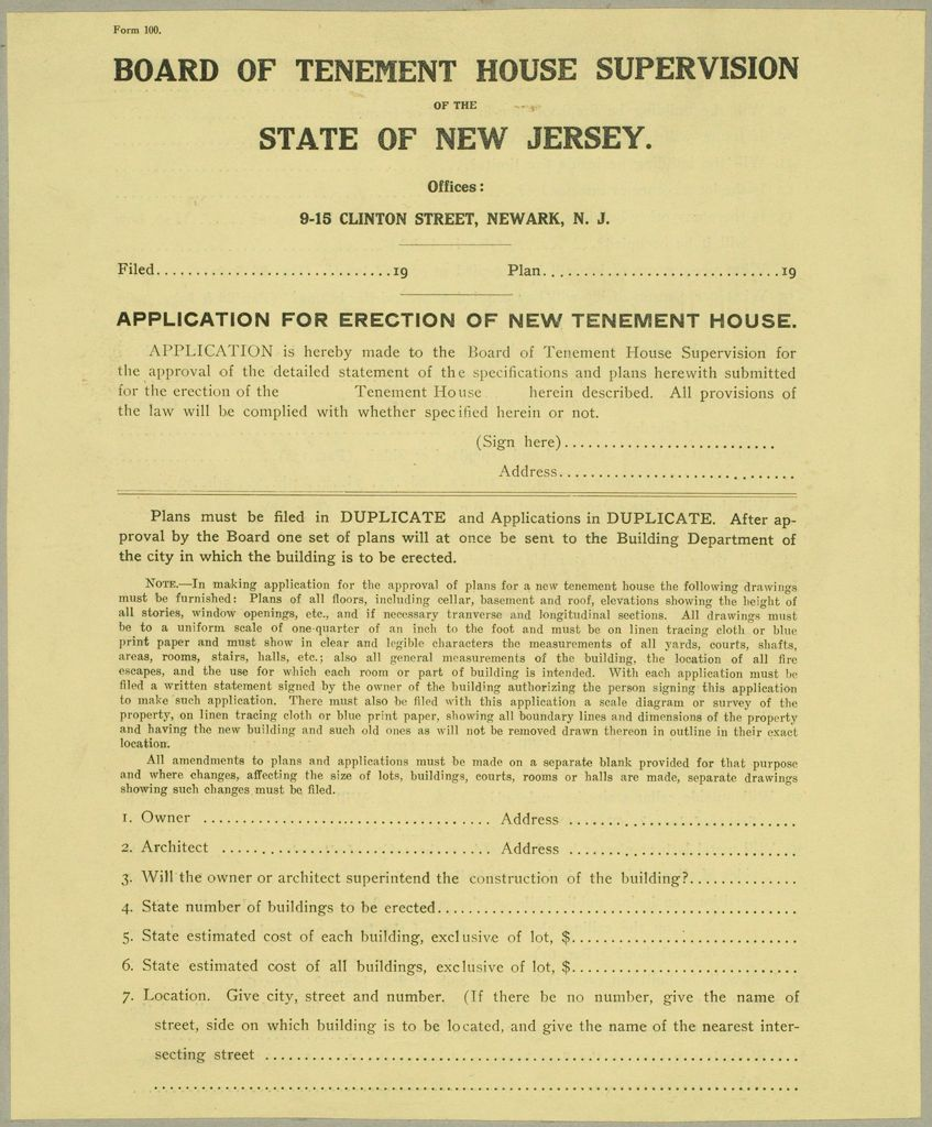 Housing, Improved: United States. New Jersey. Newark. Forms And Records Used By Tenement House Department: Board Of Tenement House Supervision Of The State Of New Jersey. Application For Erection Of New Tenement House.