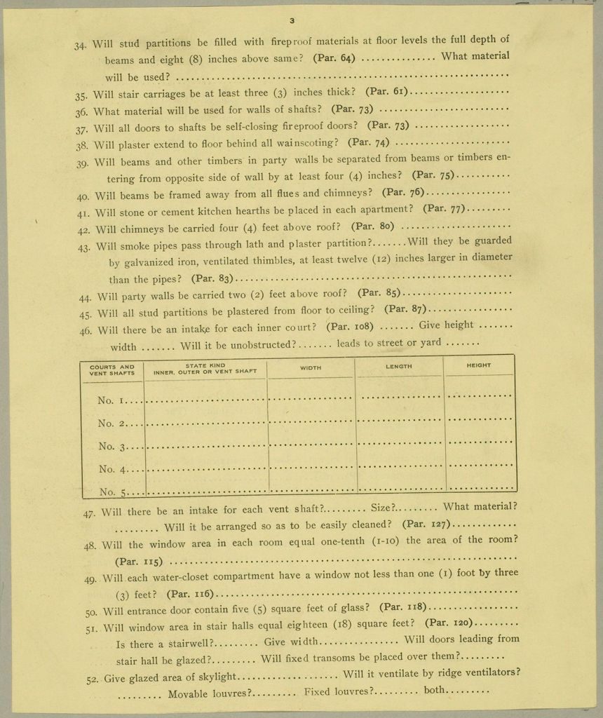 Housing, Improved: United States. New Jersey. Newark. Forms And Records Used By Tenement House Department