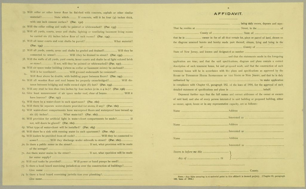 Housing, Improved: United States. New Jersey. Newark. Forms And Records Used By Tenement House Department: Affidavit.