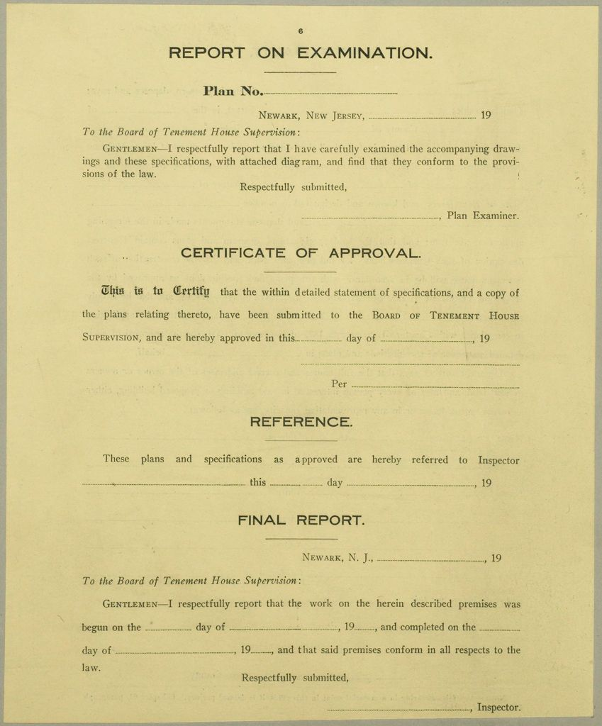 Housing, Improved: United States. New Jersey. Newark. Forms And Records Used By Tenement House Department: Report On Examination.