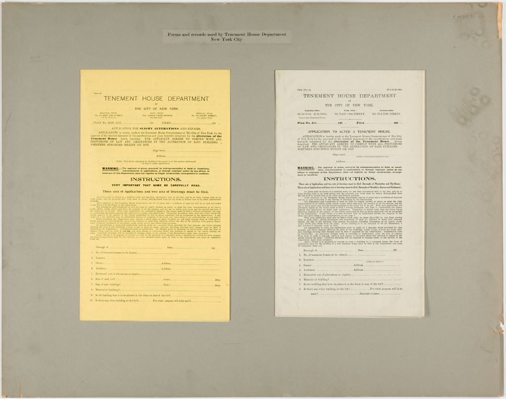 Housing, Improved: United States. New York. New York City. Tenement House Department: Forms And Records Used By Tenement House Department. New York City