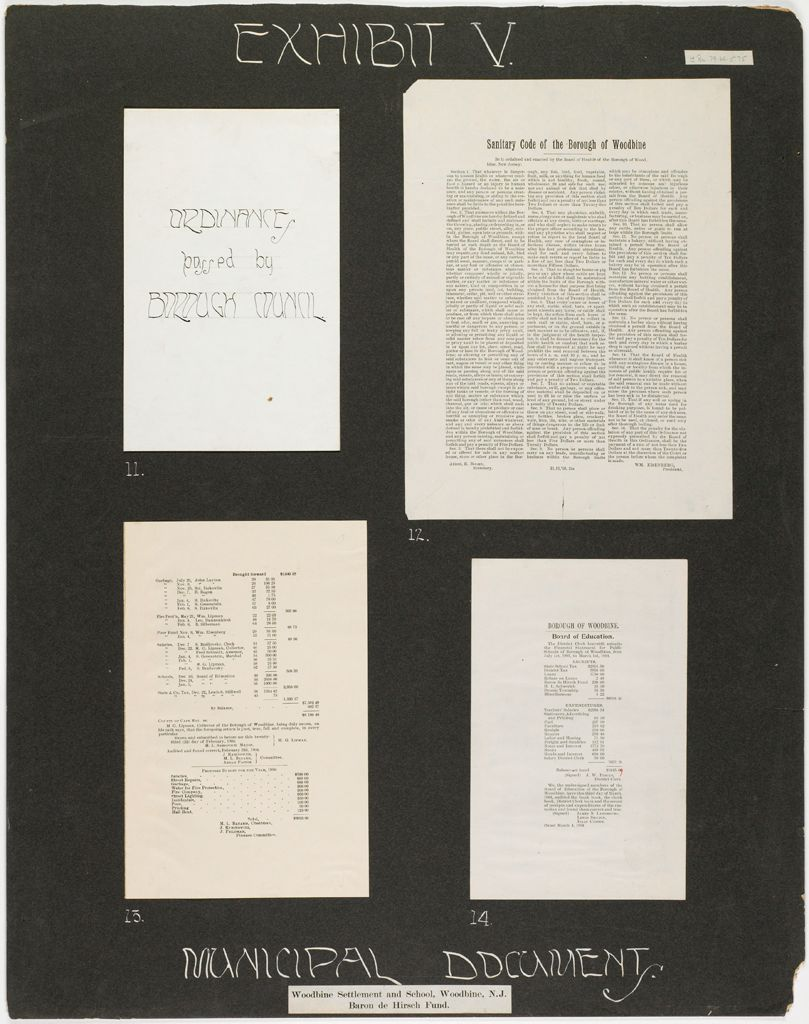 Races, Jews: United States. New Jersey. Woodbine. Baron De Hirsch Agricultural And Industrial School: Woodbine Settlement And School, Woodbine, N.j., Baron De Hirsch Fund.: Exhibit V. Municipal Documents.