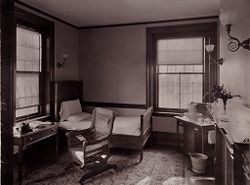 Defectives, Insane: United States. Massachusetts. Waverly. McLean Hospital: McLean Hospital. Mens Belknap: Patients bed room.   Social Museum Collection