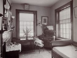 Defectives, Insane: United States. Massachusetts. Waverly. McLean Hospital: McLean Hospital. Proctor House: Patient's bedroom.   Social Museum Collection