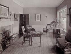 Defectives, Insane: United States. Massachusetts. Waverly. McLean Hospital: McLean Hospital. Proctor House: Sitting room.   Social Museum Collection
