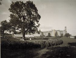 Defectives, Insane: United States. Massachusetts. Worcester. Insane Asylum: Worcester Lunatic Hospital: View of buildings, looking east.   Social Museum Collection