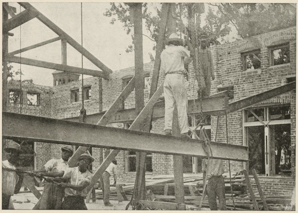 Races, Negroes: United States. Virginia. Hampton. Hampton Normal And Industrial School: Training In Scientific Agriculture: The Hampton Y.m.c.a. Building Under Construction. Trade Students Placing Iron Girders