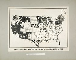 """Liquor Problem: United States. A """"wet and dry"""" Map of Temperance Reform in the U.S.: """"Wet"""" and """"Dry"""" Map of the United States, January 1, 1911: Areas shown in white are areas in which the sale of alcohol is prohibited by law..   Social Museum Collection"""