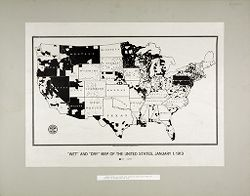 """Liquor Problem: United States. A """"wet and dry"""" Map of Temperance Reform in the U.S.: """"Wet"""" and """"Dry"""" Map of the United States, January 1, 1913: Areas shown in white are areas in which the sale of alcohol is prohibited by law..   Social Museum Collection"""