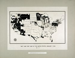 """Liquor Problem: United States. A """"wet and dry"""" Map of Temperance Reform in the U.S.: """"Wet"""" and """"Dry"""" Map of the United States, January 1, 1914: Areas shown in white are areas in which the sale of alcohol is prohibited by law..   Social Museum Collection"""