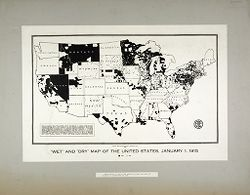 """Liquor Problem: United States. A """"wet and dry"""" Map of Temperance Reform in the U.S.: """"Wet"""" and """"Dry"""" Map of the United States, January 1, 1915: Areas shown in white are areas in which the sale of alcohol is prohibited by law..   Social Museum Collection"""