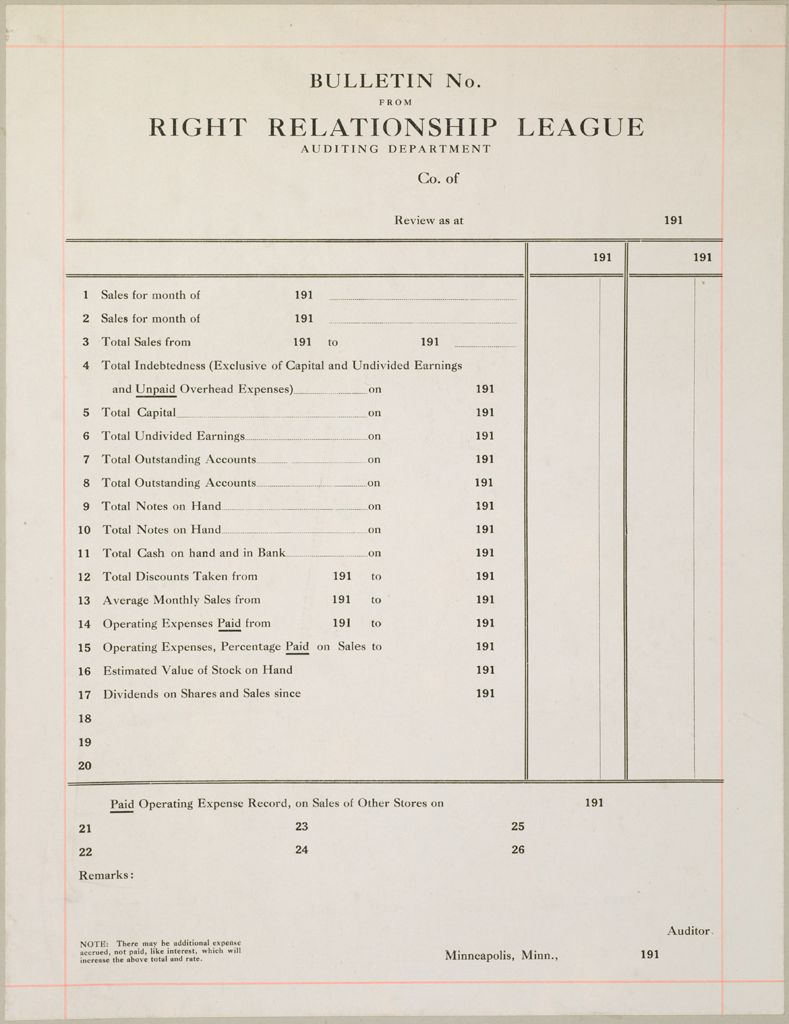 Industrial Problems, Coöperation: United States. Minnesota. Minneapolis. Right Relationship League: Coöperation, United States: Bulletin No. From Right Relationship League Auditing Department