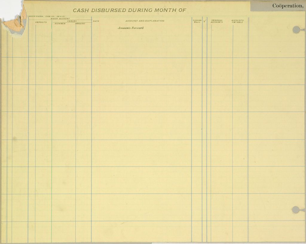 Industrial Problems, Coöperation: United States. Right Relationship League: Coöperation, United States: Forms Used By The Auditing Department Of The Right Relationship League, 1913.: Cash Disbursed During Month Of