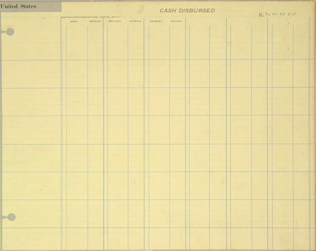 Industrial Problems, Coöperation: United States. Right Relationship League: Coöperation, United States: Forms Used By The Auditing Department Of The Right Relationship League, 1913.: Cash Disbursed