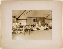 Defectives, Epileptics: United States. Massachusetts. Palmer. State Hospital for Epileptics: K.B. sewing room, 1908..   Social Museum Collection