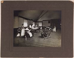 Defectives, Epileptics: United States. Massachusetts. Palmer. State Hospital for Epileptics: K.B. sewing room, 1907..   Social Museum Collection