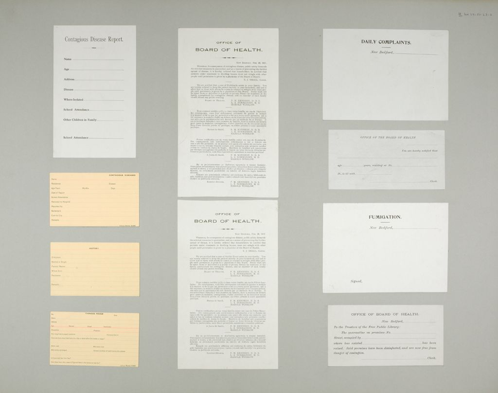 Health, General: United States. Massachusetts. New Bedford. Board Of Health Forms