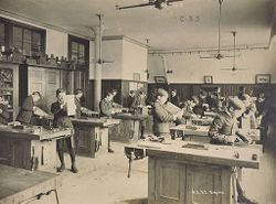Education, Industrial: United States. New York. New York City. Public Schools, Adaptation to Special City Needs: New York City Public Schools. Examples of the Adaptation of Education to Special City Needs: Carpenter Shop. Public School 32. Bronx..   Social Museum Collection