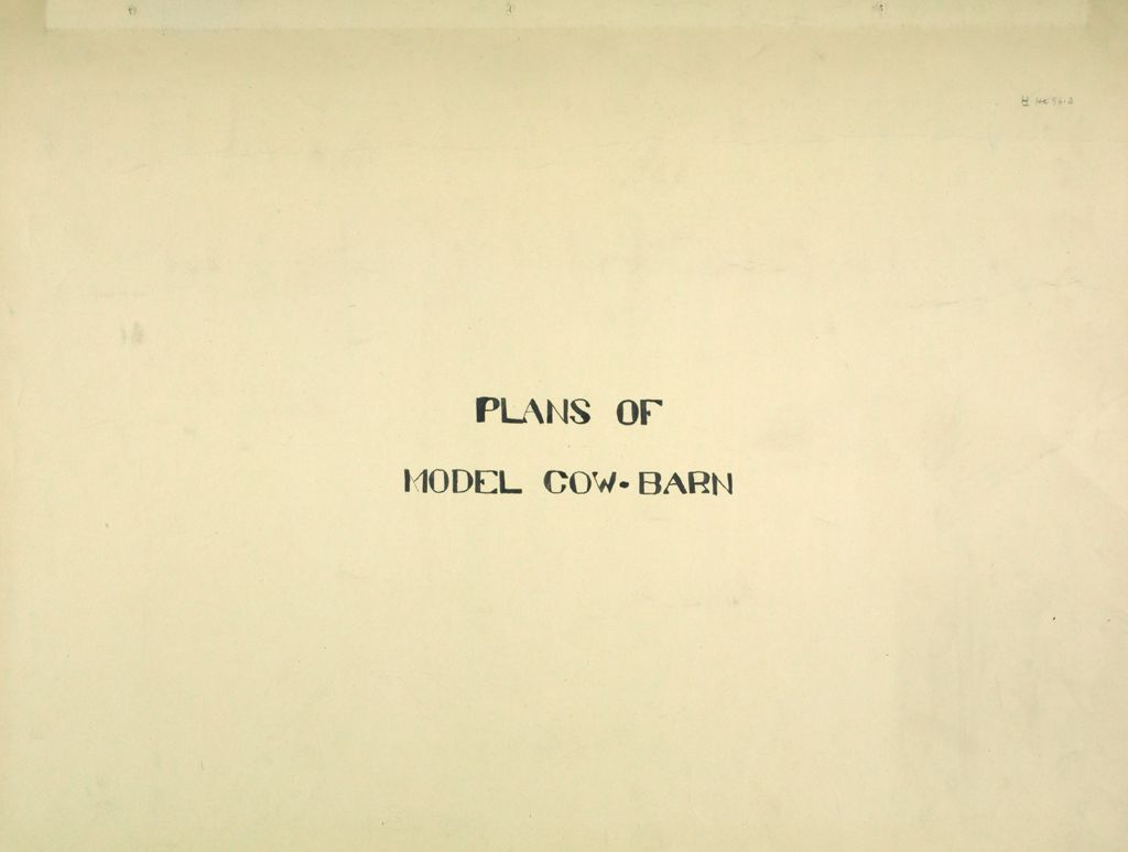 Health, General: United States: Plans Of Model Cow-Barn