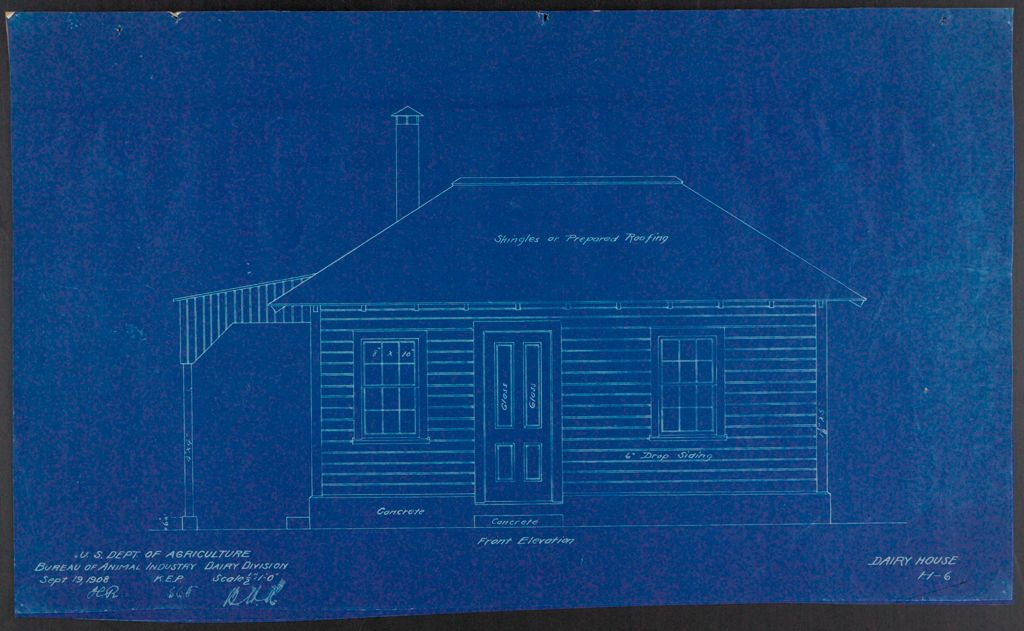 Health, General: United States: Plans Of Model Dairy House: Front Elevation
