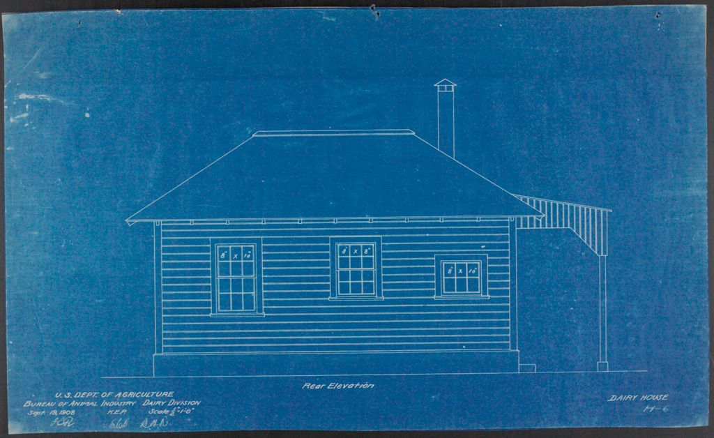 Health, General: United States: Plans Of Model Dairy House: Rear Elevation
