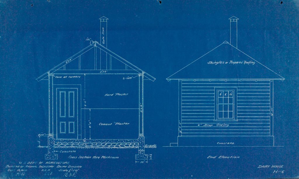Health, General: United States: Plans Of Model Dairy House: Cross Section Thru Workroom; End Elevation