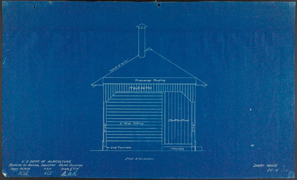Health, General: United States: Plans Of Model Dairy House: End Elevation