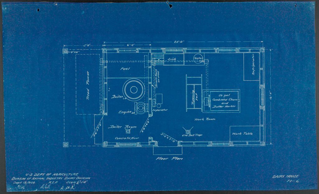 Health, General: United States: Plans Of Model Dairy House: Floor Plan