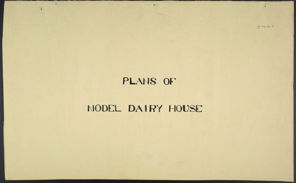 Health, General: United States: Plans Of Model Dairy House