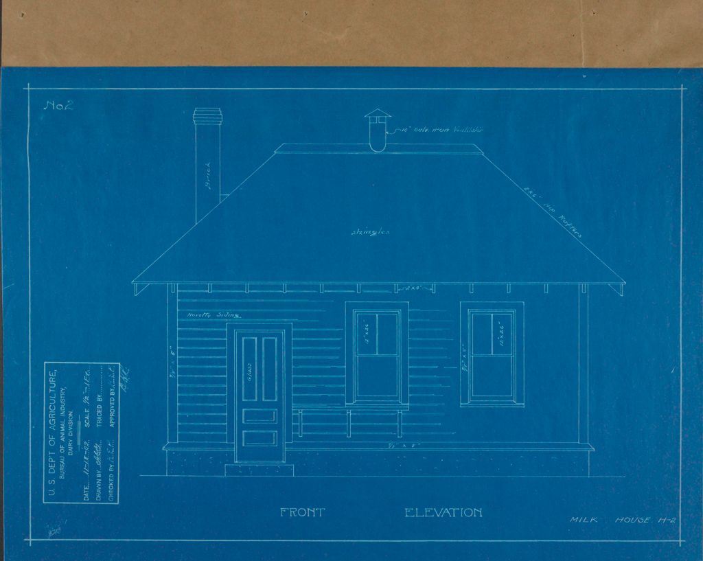 Health, General: United States: Plans Of Model Milk House: Front Elevation